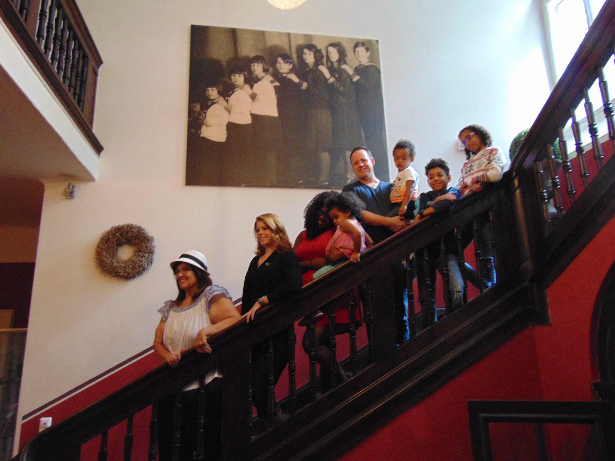 Foodie Fam on Von Trapp Villa Stairs